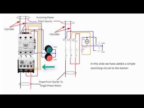 single phase starter connections youtube 3 phase motor wiring diagram single phase ac to one line single phase starter connections