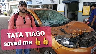 Tata Tiago Airbag saved owner | Reaction after he escaped unhurt from a very dangerous accident