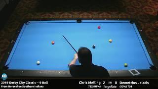 Chris Melling vs Demetrius Jelatis - 9 Ball - 2019 Derby City Classic