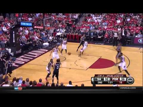 NBA, playoff 2014, Spurs vs. Trail Blazers, Round 2, Game 4, Move 20, Marco Belinelli, assist