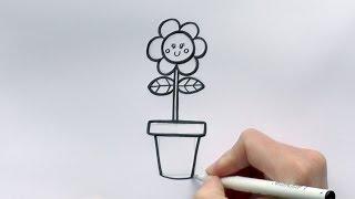 How to Draw a Cartoon Flower in a Flowerpot