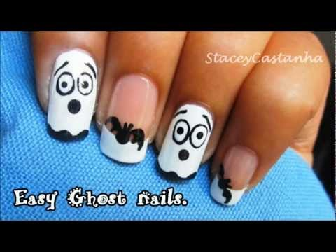 Easy Ghost Nails for Halloween | Tutorial