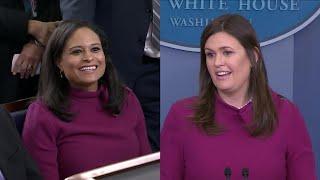 Sarah Huckabee Sanders Wears Same Dress as Reporter to White House Presser