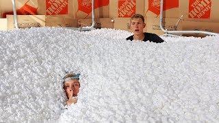 1,000,000 Packing Peanuts Secret Hidden FORT Hide and Seek!!