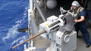 Powerful & Devastating Mk 38 Machine Gun [ M242 Bushmaster ] - US Navy Sailors Live Fire