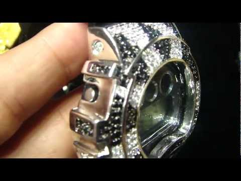 Mr Chris Da Jeweler Custom Lab Diamond Iced Out Casio G Shock DW6900 ( Video No : GW1246 )