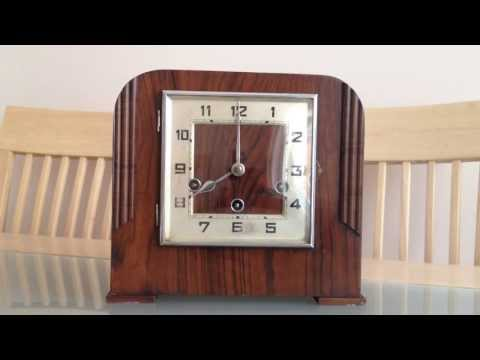 KIENZLE WESTMINSTER CHIME ART DECO WALNUT SQUARE DIAL MANTLE CLOCK