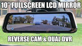 "Full Screen LCD 10"" Rearview Mirror DVR  Dash Cam Review Junsun - #techtips"