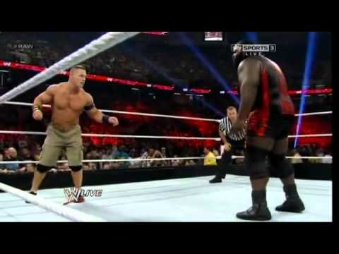 WWE Raw 4/8/13 John Cena vs Mark Henry [Ryback Turn heel]