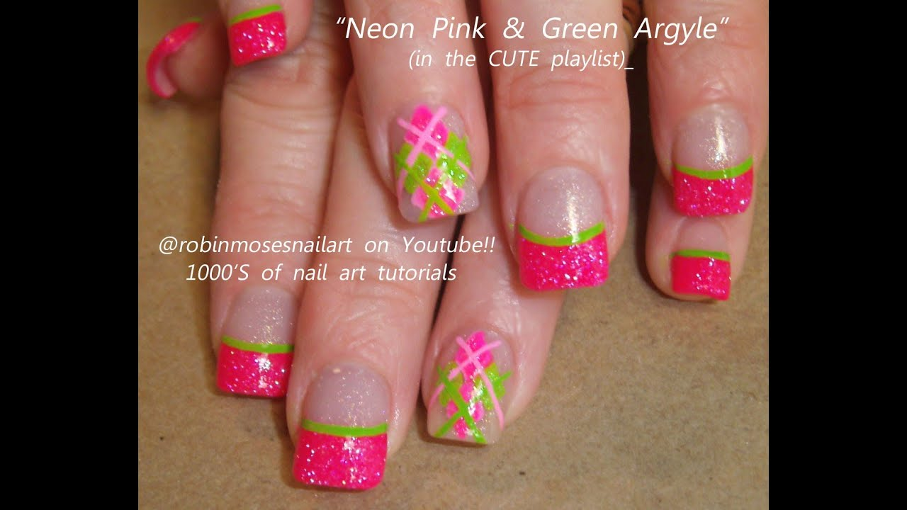 Nail art tutorial for beginners argyle nails pink and lime green