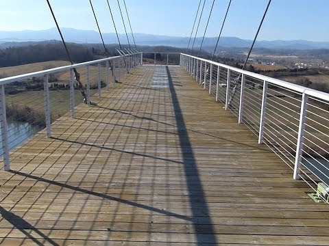 300ft Tall Glass Bottom Skybridge in HD at Adrenaline Park - Sevierville, TN