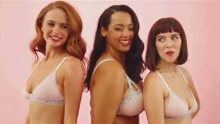 Women Try On Fair Trade Inclusive Millennial Pink Lingerie