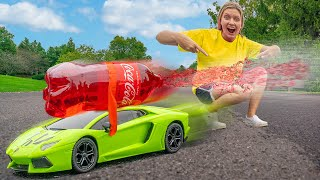 FASTEST COCA COLA SODA and MENTOS BOTTLE ROCKET CAR CHALLENGE (Sis vs Bro)