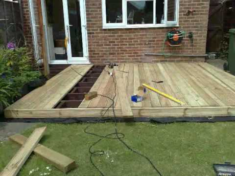 building garden decking part 4 youtube. Black Bedroom Furniture Sets. Home Design Ideas