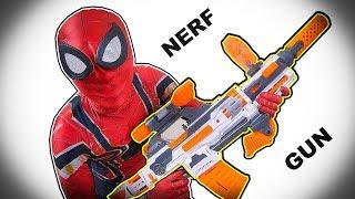 SNIPER SPIDER-MAN TRAINING | NGƯỜI NHỆN biểu diễn bắn súng hạ gục VENOM | NERF GUN