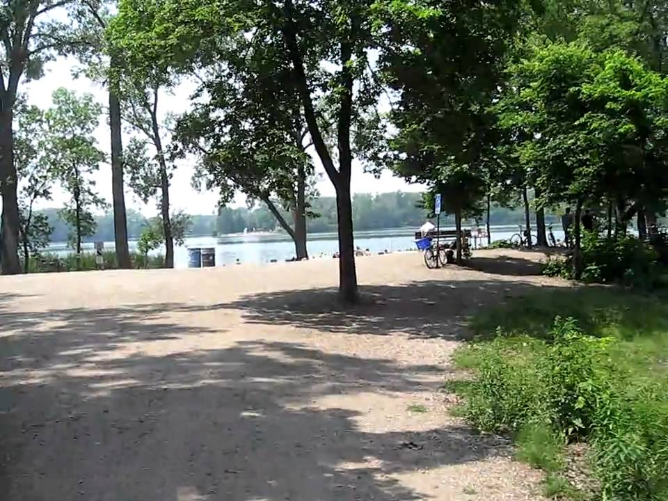 Biking onto East Cedar Lake Beach, Minneapolis - YouTube
