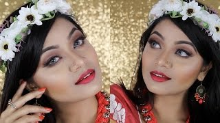 Pohela Boishakh Makeup Tutorial 2017 | Warm Brown Makeup tutorial