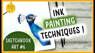 INK with me in my SKETCHBOOK #6: A PEACOCK | INK PAINTING TECHNIQUES TUTORIAL for BEGINNERS
