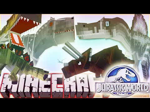Minecraft 1.8 Jurassic World 2.0 Mod DINO BATTLE: INDOMINUS REX VS T-REX VS SPINOSAURUS & MORE!