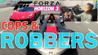 COPS & ROBBERS | ONLINE WITH FRIENDS!! | Forza Horizon 3 Career With Steering Wheel!!