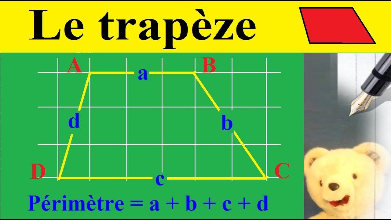 calculer le p rim tre du trap ze g om trie des polygones quadrilat res youtube. Black Bedroom Furniture Sets. Home Design Ideas