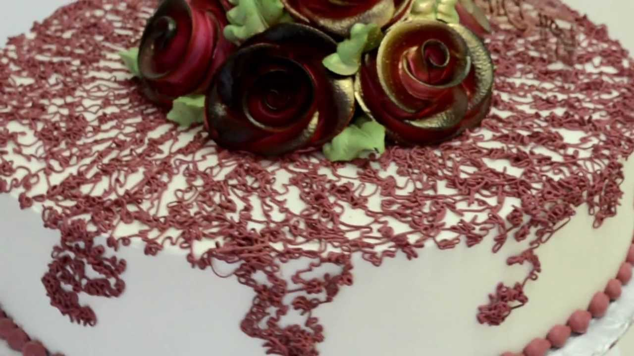 Cake Decorating Cream Flowers : Whipped Cream flower design cake - YouTube