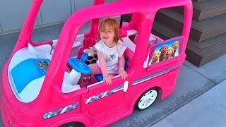 ULTIMATE BARBIE CAMPER!! Adley gets her FIRST Power Wheels! (car building routine)
