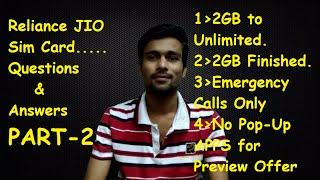 Reliance Jio Sim | 2GB to Unlimited Data | Emergency Calls Only on Jio Sim