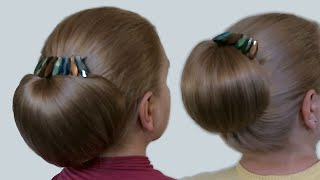 "Updo Hairstyles| Bun with Hair Bow for Long Hair| Hairstyle ""Babette""