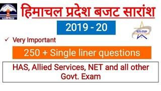 HP Budget 2019-20 Most Important Question II बजट सारांश II HP Current GK II