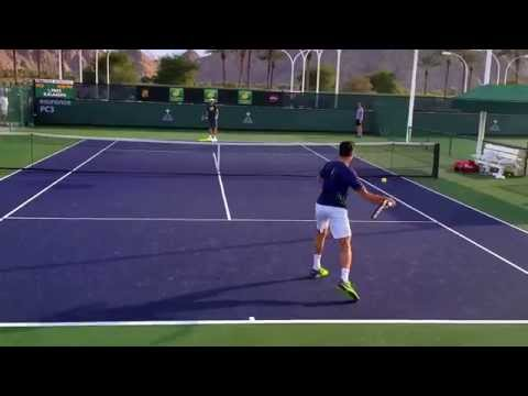 Milos Raonic and coach Ivan Lubicic Indian Wells practice 3/10/15