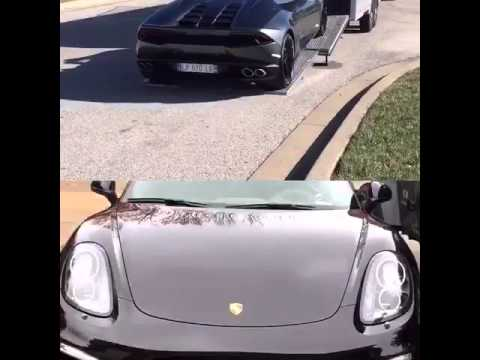 Lamborghini Huracan Spider being loaded onto trailer video clip of Porsche Boxster Soort