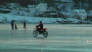 motorcyclists in the Norwegian Sea! on ice! motorsykkelkjøring på den norske hav