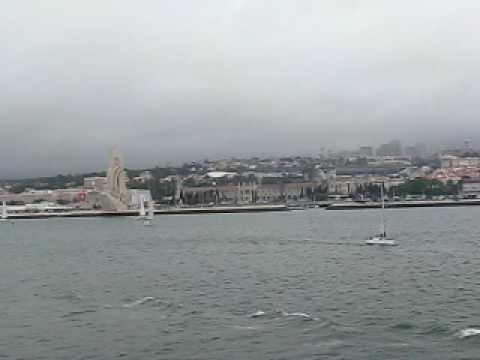 View of Lisbon suburb of Belem from ship in Tejo (Tegus) River