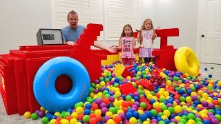Filling Our GIANT Lego Race Car With 10,000 BALL PIT BALLS! Lost Dad's Phone!