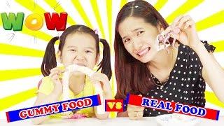 Real Food vs. Gummy Food challenge 🤣 Phần 2 ♥ Dâu Tây Channel