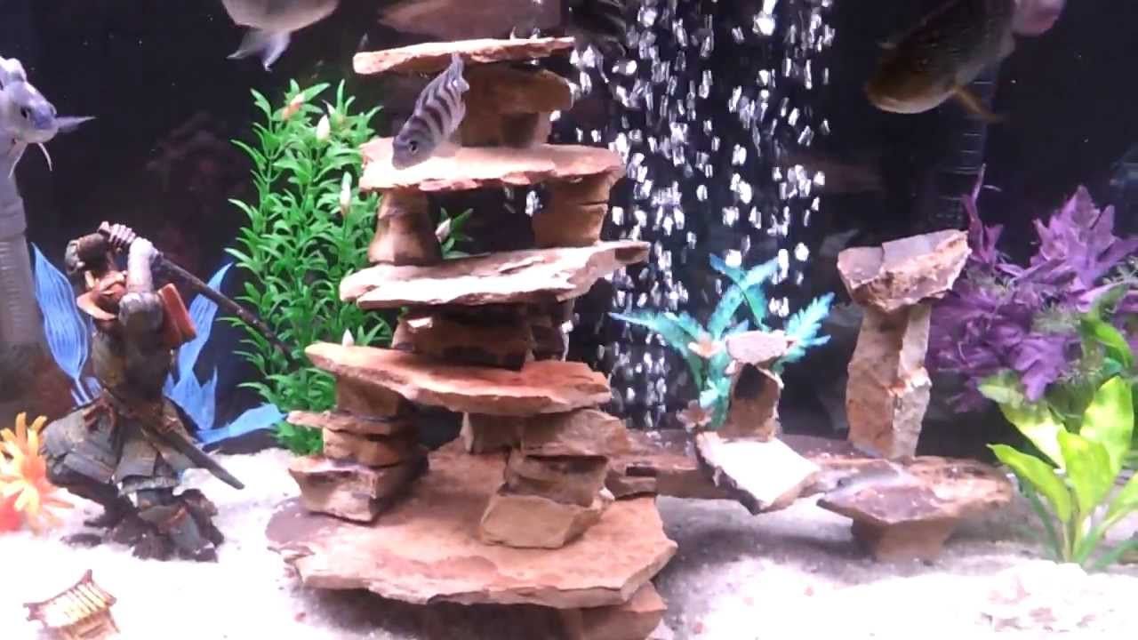 Home made slate structure cichlid tank aquarium youtube for African cichlid rock decoration