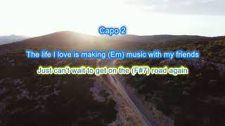 """On the Road Again"" instrumental backing track play along with scrolling guitar chords and lyrics"