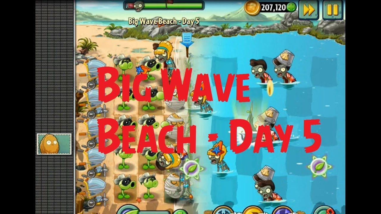 Plants vs zombies 2 big wave beach day 5 youtube
