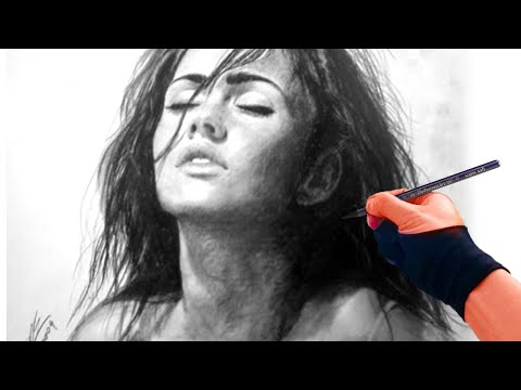 Megan Fox charcoal Portrait Drawing video - ThePortraitArt