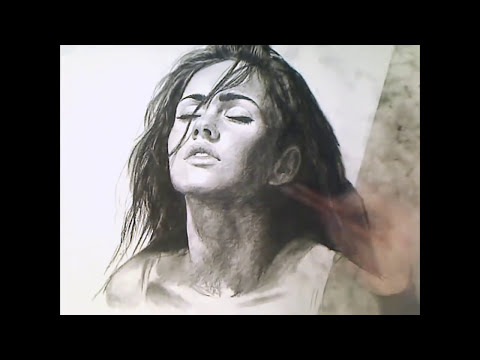 Megan Fox charcoal speed drawing Art video - ThePortraitArt