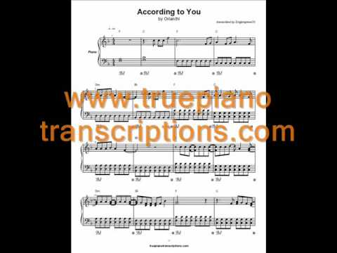 According to You by Orianthi (Piano cover and sheet music transcription)
