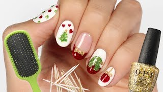 5 Christmas Nail Art Designs Using Household Items!