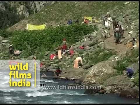 Stream with water gushing - Amarnath Yatra