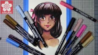 Manga Drawing Tutorial: Dark Skin Tones with Water Color - Koi Coloring Brush Pens
