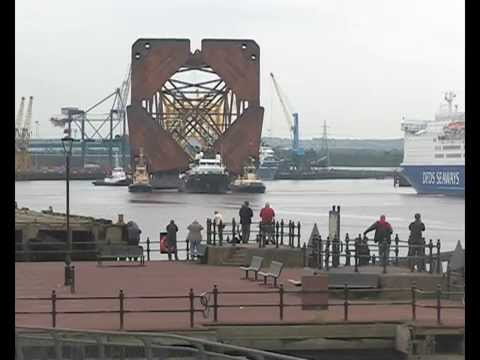 Tug Magnus and Barge Castoro XI with a Jacket for Talisman Energy leave the Tyne 13th June 2014