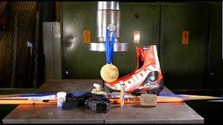 Crushing cross-country skiing stuff with hydraulic press