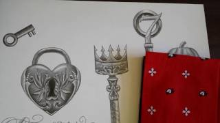 Drawing key and heartlock tattoo designs