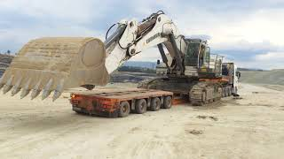 Loading And Transporting The Huge Liebherr 984C  120 Tones