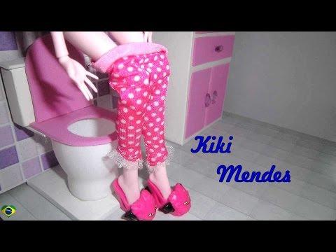 Como fazer um banheiro (vaso sanitário) para boneca Monster High. Barbie. Pullip e etc